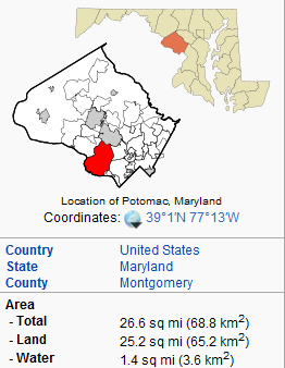 Map of Potomac Maryland